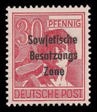 30 Pf Briefmarke: Freimarken II. Kontrollratsausgabe, Arbeiter - mit Maschinenaufdruck 'Sowjetische Besatzungs Zone'