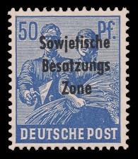 50 Pf Briefmarke: Freimarken II. Kontrollratsausgabe, Maurer und Bäuerin - mit Maschinenaufdruck 'Sowjetische Besatzungs Zone'