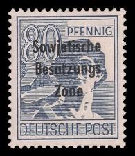 80 Pf Briefmarke: Freimarken II. Kontrollratsausgabe, Arbeiter - mit Maschinenaufdruck 'Sowjetische Besatzungs Zone'