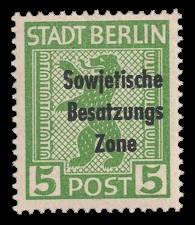 5 Pf Briefmarke: Freimarken Berliner Bär - mit Maschinenaufdruck 'Sowjetische Besatzungs Zone'