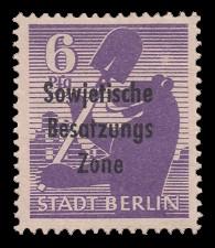 6 Pf Briefmarke: Freimarken Berliner Bär - mit Maschinenaufdruck 'Sowjetische Besatzungs Zone'