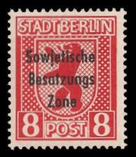 8 Pf Briefmarke: Freimarken Berliner Bär - mit Maschinenaufdruck 'Sowjetische Besatzungs Zone'