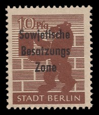 10 Pf Briefmarke: Freimarken Berliner Bär - mit Maschinenaufdruck 'Sowjetische Besatzungs Zone'