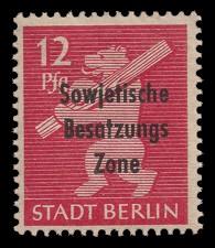 12 Pf Briefmarke: Freimarken Berliner Bär - mit Maschinenaufdruck 'Sowjetische Besatzungs Zone'