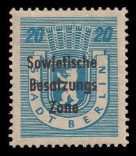 20 Pf Briefmarke: Freimarken Berliner Bär - mit Maschinenaufdruck 'Sowjetische Besatzungs Zone'