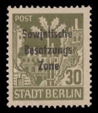 30 Pf Briefmarke: Freimarke Eiche - mit Maschinenaufdruck 'Sowjetische Besatzungs Zone'