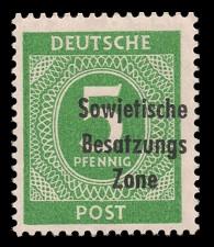 5 Pf Briefmarke: Freimarken I. Kontrollratsausgabe Ziffern, Ziffer 5 Pf - mit Maschinenaufdruck 'Sowjetische Besatzungs Zone'