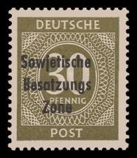 30 Pf Briefmarke: Freimarken I. Kontrollratsausgabe Ziffern, Ziffer 30 Pf - mit Maschinenaufdruck 'Sowjetische Besatzungs Zone'