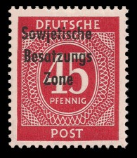 45 Pf Briefmarke: Freimarken I. Kontrollratsausgabe Ziffern, Ziffer 45 Pf - mit Maschinenaufdruck 'Sowjetische Besatzungs Zone'