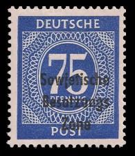 75 Pf Briefmarke: Freimarken I. Kontrollratsausgabe Ziffern, Ziffer 75 Pf - mit Maschinenaufdruck 'Sowjetische Besatzungs Zone'