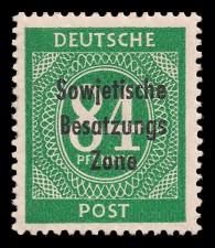 84 Pf Briefmarke: Freimarken I. Kontrollratsausgabe Ziffern, Ziffer 84 Pf - mit Maschinenaufdruck 'Sowjetische Besatzungs Zone'