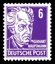 6 Pf Briefmarke: Persönlichkeiten, Gerhart Hauptmann