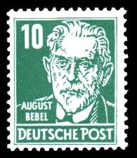 10 Pf Briefmarke: Persönlichkeiten, August Bebel