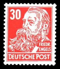 30 Pf Briefmarke: Persönlichkeiten, Friedrich Engels