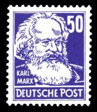 50 Pf Briefmarke: Persönlichkeiten, Karl Marx