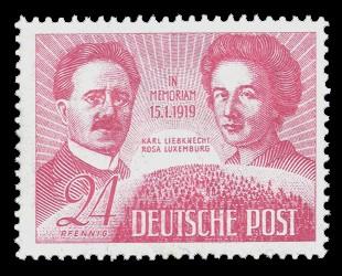 24 Pf Briefmarke: 30. Todestag K. Liebknecht und R. Luxemburg