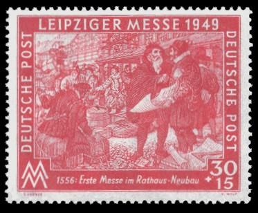 30 + 15 Pf Briefmarke: Leipziger Frühjahrsmesse 1949