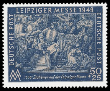 50 + 25 Pf Briefmarke: Leipziger Frühjahrsmesse 1949