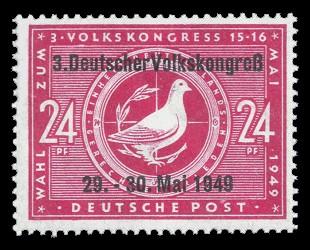 24 Pf Briefmarke: Tagung des dritten Volkskongresses (mit Aufdruck)