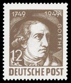12 + 8 Pf Briefmarke: 200. Geburtstag Johann Wolfgang von Goethe