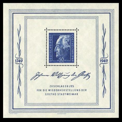 50 Pf + 4,50 DM Briefmarke: Goethe-Block, Festwochen in Weimar