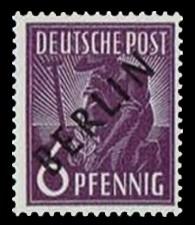 6 Pf Briefmarke: Gemeinschaftsausgabe der alliierten Besetzung mit schwarzem BERLIN Aufdruck, Freimarke