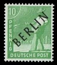 10 Pf Briefmarke: Gemeinschaftsausgabe der alliierten Besetzung mit schwarzem BERLIN Aufdruck, Freimarke