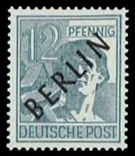 12 Pf Briefmarke: Gemeinschaftsausgabe der alliierten Besetzung mit schwarzem BERLIN Aufdruck, Freimarke