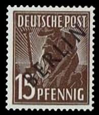 15 Pf Briefmarke: Gemeinschaftsausgabe der alliierten Besetzung mit schwarzem BERLIN Aufdruck, Freimarke