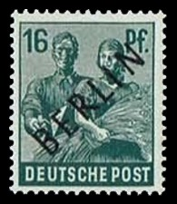 16 Pf Briefmarke: Gemeinschaftsausgabe der alliierten Besetzung mit schwarzem BERLIN Aufdruck, Freimarke