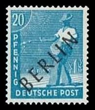 20 Pf Briefmarke: Gemeinschaftsausgabe der alliierten Besetzung mit schwarzem BERLIN Aufdruck, Freimarke