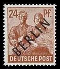 24 Pf Briefmarke: Gemeinschaftsausgabe der alliierten Besetzung mit schwarzem BERLIN Aufdruck, Freimarke