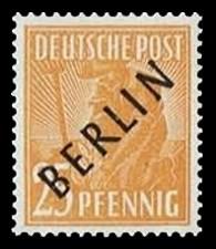 25 Pf Briefmarke: Gemeinschaftsausgabe der alliierten Besetzung mit schwarzem BERLIN Aufdruck, Freimarke