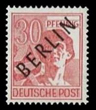 30 Pf Briefmarke: Gemeinschaftsausgabe der alliierten Besetzung mit schwarzem BERLIN Aufdruck, Freimarke