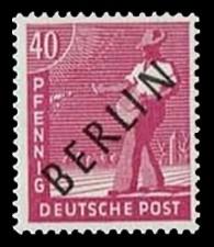 40 Pf Briefmarke: Gemeinschaftsausgabe der alliierten Besetzung mit schwarzem BERLIN Aufdruck, Freimarke