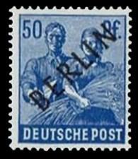50 Pf Briefmarke: Gemeinschaftsausgabe der alliierten Besetzung mit schwarzem BERLIN Aufdruck, Freimarke