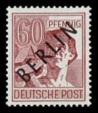60 Pf Briefmarke: Gemeinschaftsausgabe der alliierten Besetzung mit schwarzem BERLIN Aufdruck, Freimarke