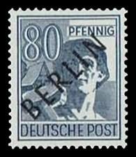 80 Pf Briefmarke: Gemeinschaftsausgabe der alliierten Besetzung mit schwarzem BERLIN Aufdruck, Freimarke
