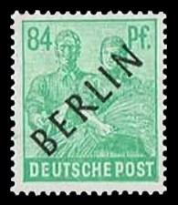 84 Pf Briefmarke: Gemeinschaftsausgabe der alliierten Besetzung mit schwarzem BERLIN Aufdruck, Freimarke
