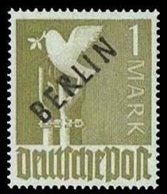 1 M Briefmarke: Gemeinschaftsausgabe der alliierten Besetzung mit schwarzem BERLIN Aufdruck, Freimarke