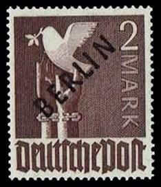2 M Briefmarke: Gemeinschaftsausgabe der alliierten Besetzung mit schwarzem BERLIN Aufdruck, Freimarke