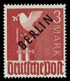 3 M Briefmarke: Gemeinschaftsausgabe der alliierten Besetzung mit schwarzem BERLIN Aufdruck, Freimarke