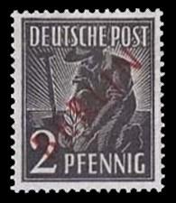 2 Pf Briefmarke: Gemeinschaftsausgabe der alliierten Besetzung mit rotem BERLIN Aufdruck, Freimarke