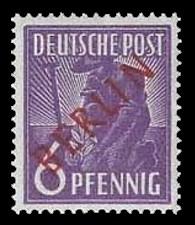 6 Pf Briefmarke: Gemeinschaftsausgabe der alliierten Besetzung mit rotem BERLIN Aufdruck, Freimarke