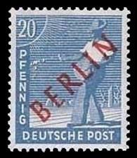 20 Pf Briefmarke: Gemeinschaftsausgabe der alliierten Besetzung mit rotem BERLIN Aufdruck, Freimarke