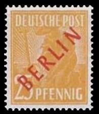 25 Pf Briefmarke: Gemeinschaftsausgabe der alliierten Besetzung mit rotem BERLIN Aufdruck, Freimarke