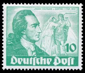 10 Pf Briefmarke: 200. Geburtstag von Johann Wolfgang von Goethe