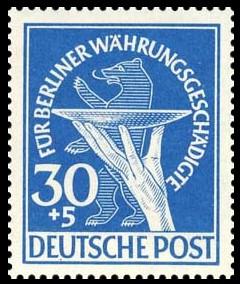 30+5 Pf Briefmarke: Berliner Währungsgeschädigte