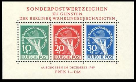 1 DM Briefmarke: Blockausgabe Berliner Währungsgeschädigte