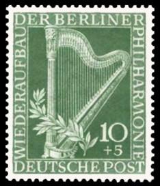 10 + 5 Pf Briefmarke: Wiederaufbau der Berliner Philharmonie